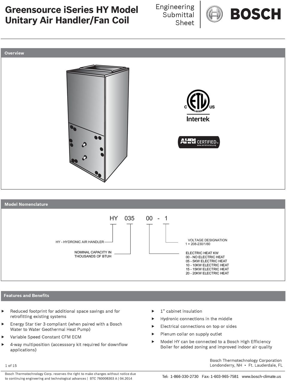 Greensource iseries HY Model Unitary Air Handler/Fan Coil - PDF