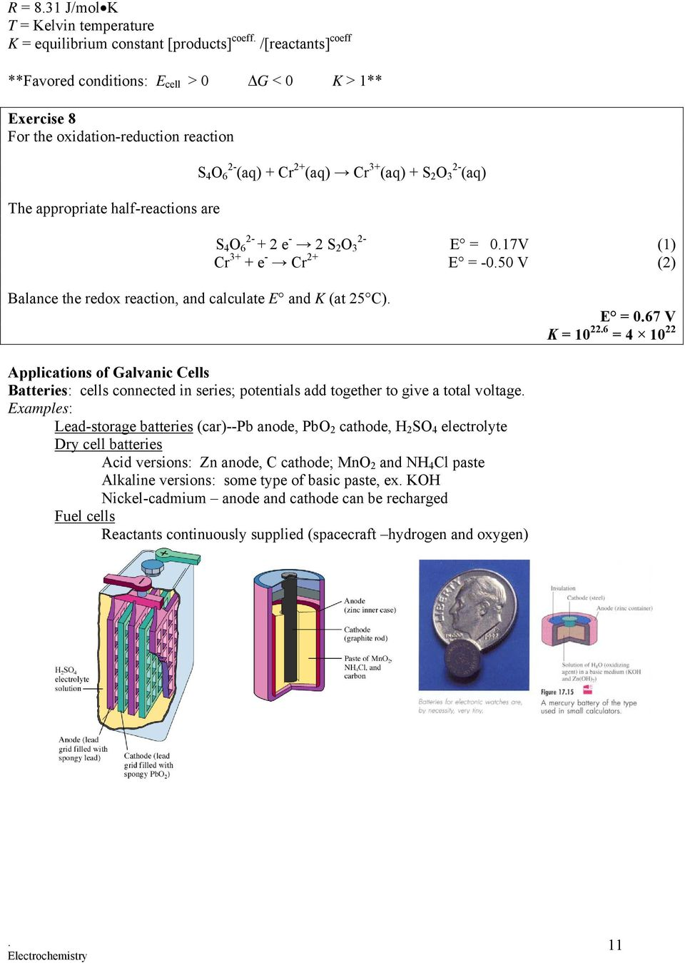 Ap Chemistry Electrochemistry Pdf Drybatterycelldiagramjpg Calculate E And K At 25 C 067 V 10 226 12 Electrolysis Electrolytic Cells