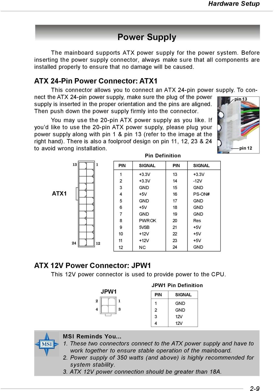 Ms 7184 V1x Micro Atx Mainboard Pdf Mini 24 Pin Wiring Diagram Power Connector Atx1 This Allows You To Connect An