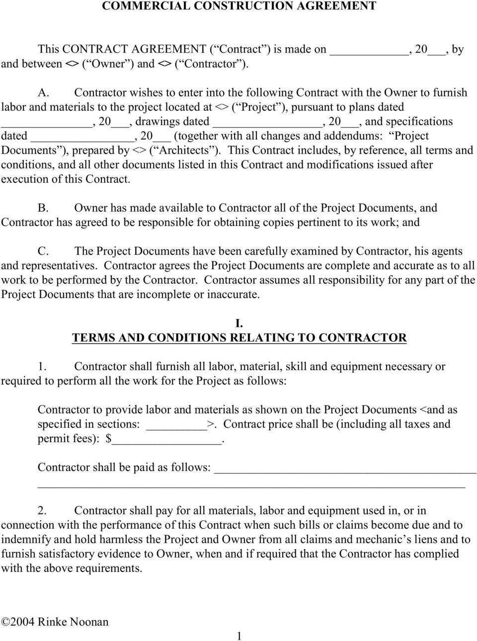 Commercial Construction Agreement This Contract Agreement
