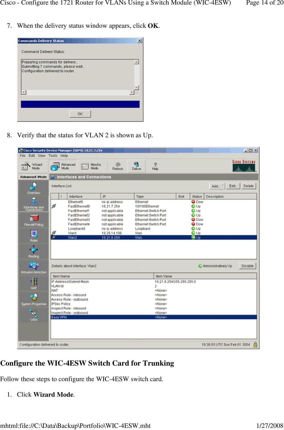 Verify that the status for VLAN 2 is shown as Up.