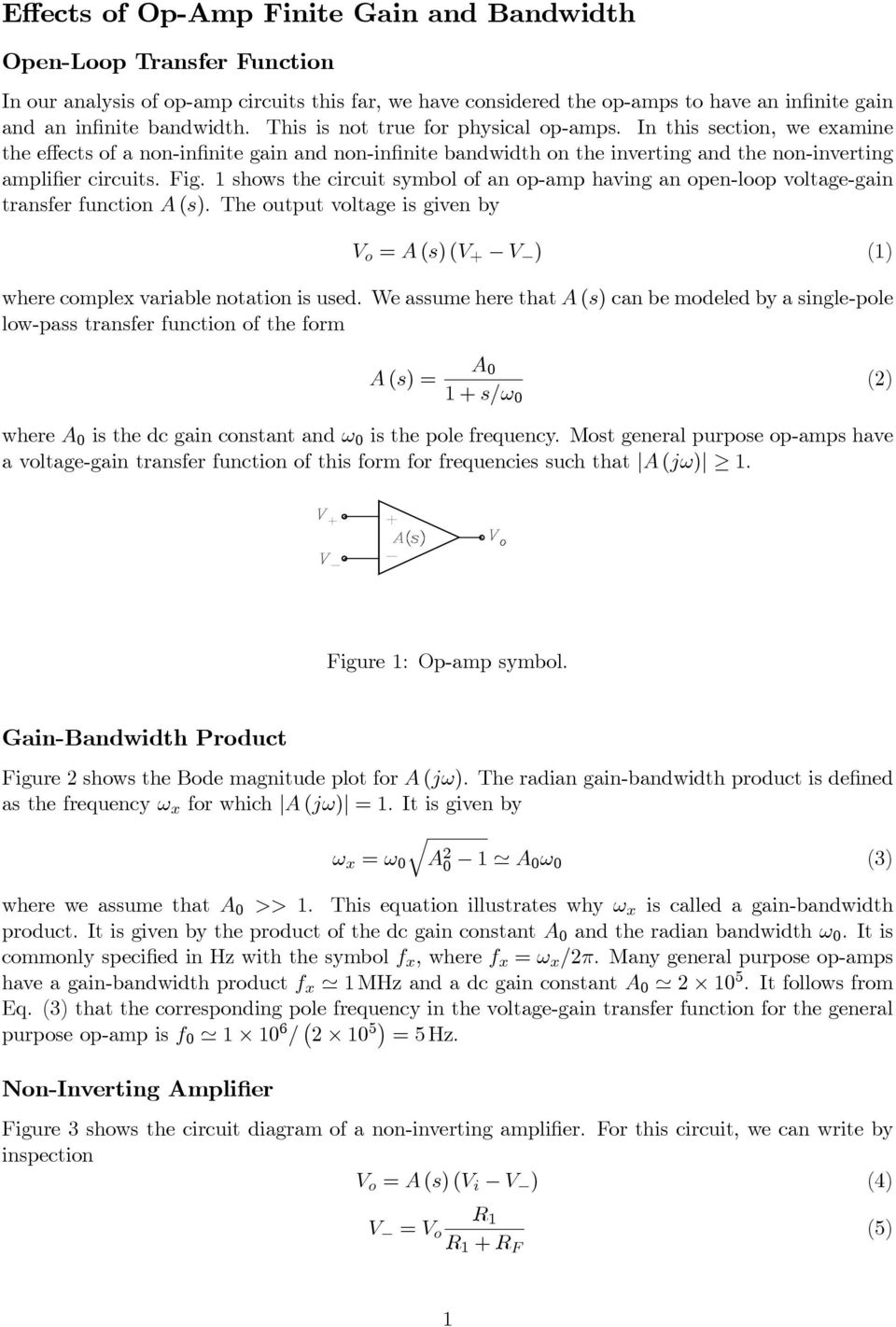 Effects Of Op Amp Finite Gain And Bandwidth Pdf
