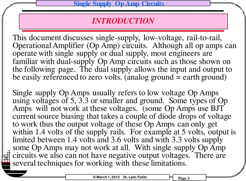 Single Supply Op Amp Circuits Dr. Lynn Fuller - PDF