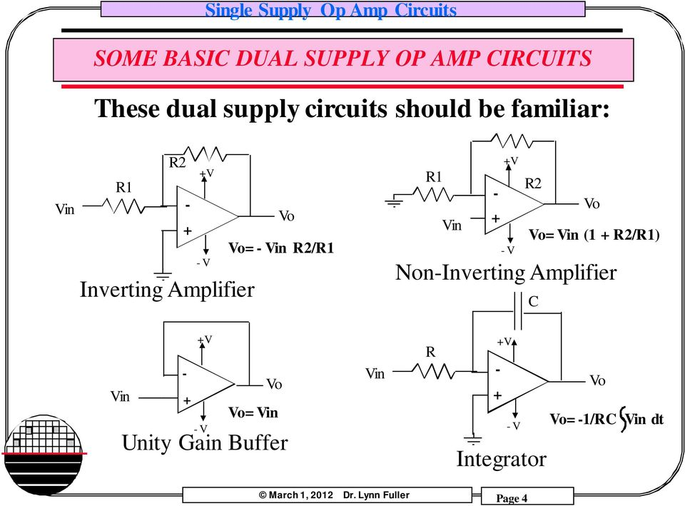 Single Supply Op Amp Circuits Dr  Lynn Fuller - PDF
