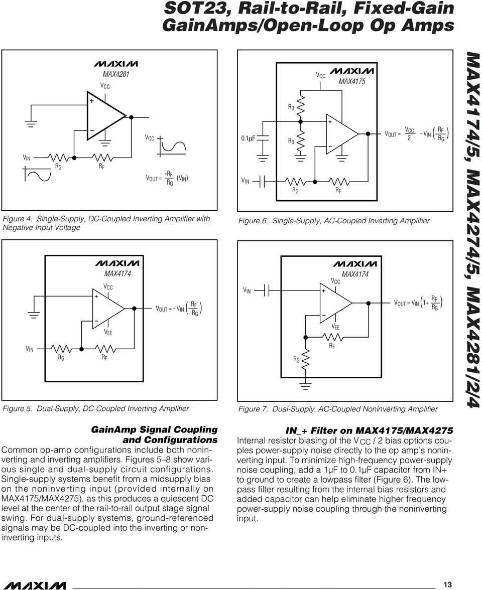 Dual-Supply, AC-Coupled Noninverting Amplifier MAX7/5, MAX7/5, MAX8// GainAmp Signal Coupling and Configurations Common op-amp configurations include both noninverting and inverting amplifiers.