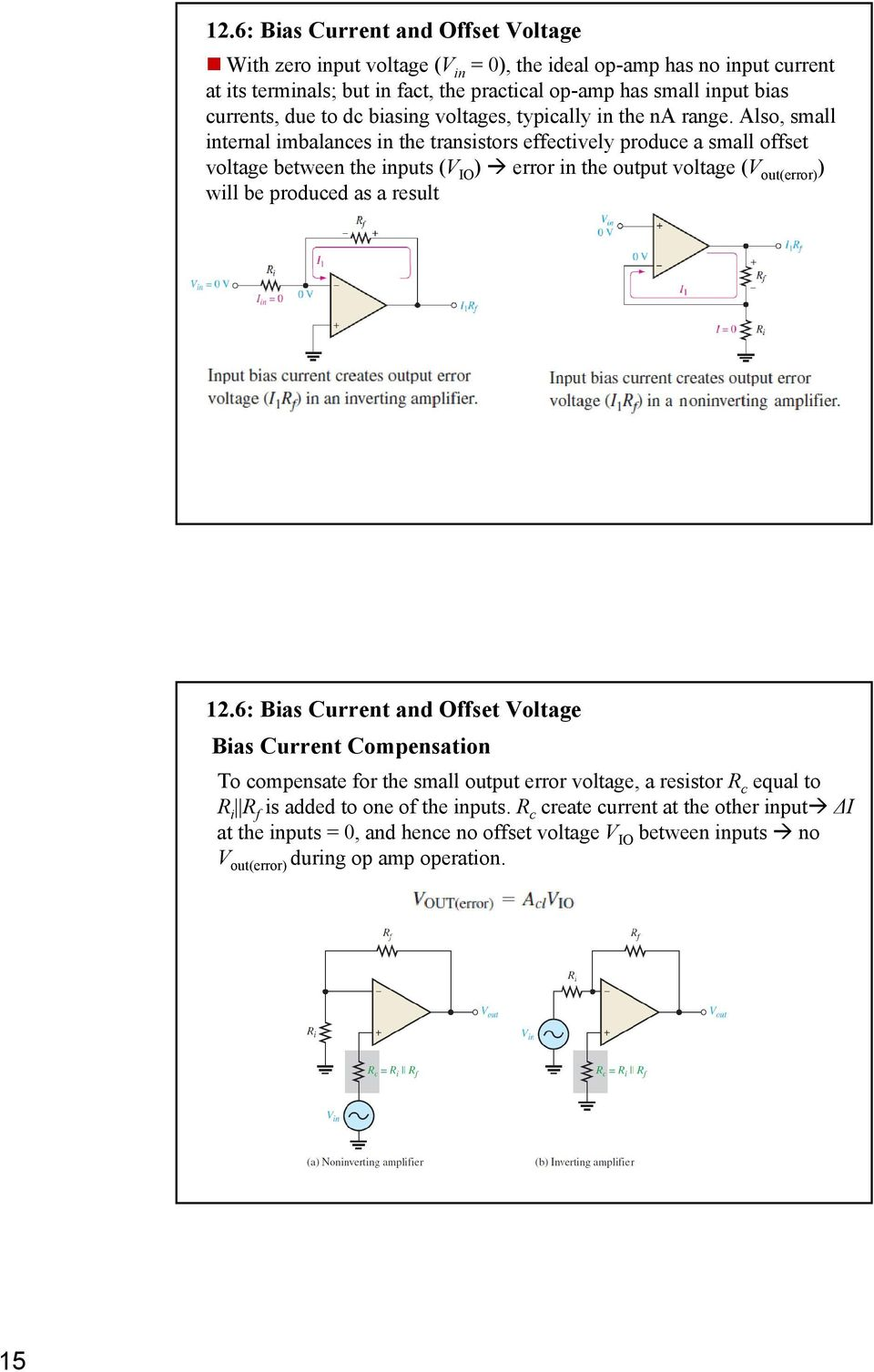 Also, small internal imbalances in the transistors effectively produce a small offset voltage between the inputs (V IO ) error in the output voltage (V out(error) ) will be produced as a