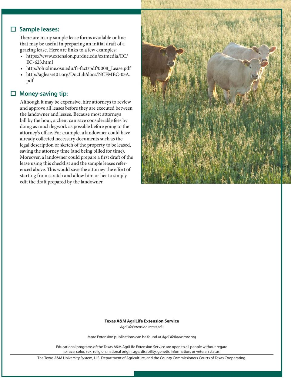 Texas Grazing Lease Checklist Pdf