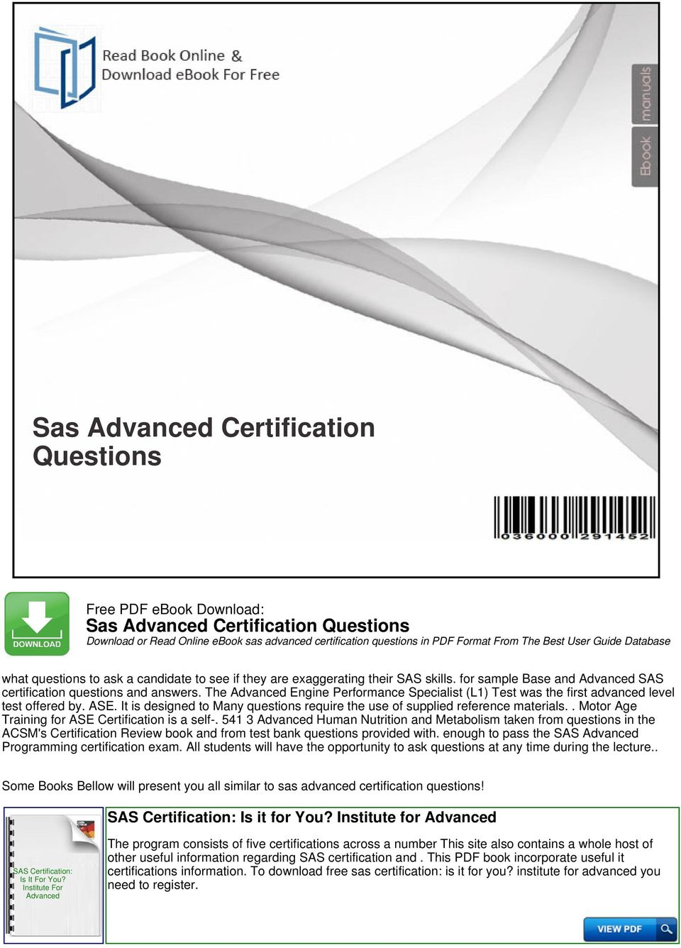 Sas advanced certification questions pdf it is designed to many questions require the use of supplied reference materials motor fandeluxe Choice Image