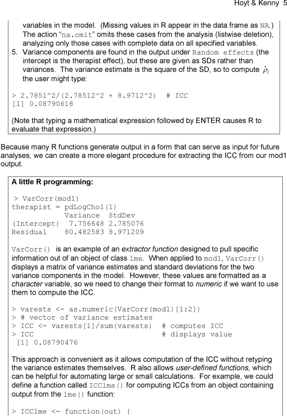 Multilevel Modeling in R, Using the nlme Package - PDF