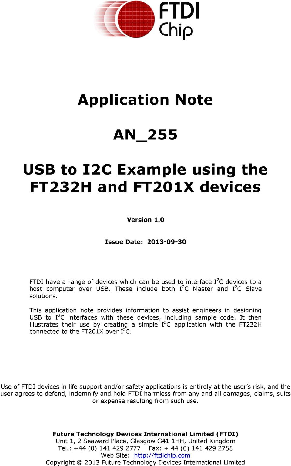 Application Note AN_255  USB to I2C Example using the FT232H and