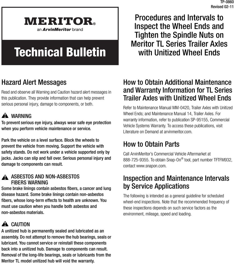 Procedures and Intervals to Inspect the Wheel Ends and