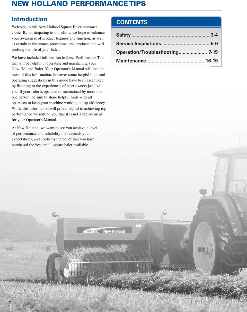Performance Tips New Holland Small Square Balers - PDF
