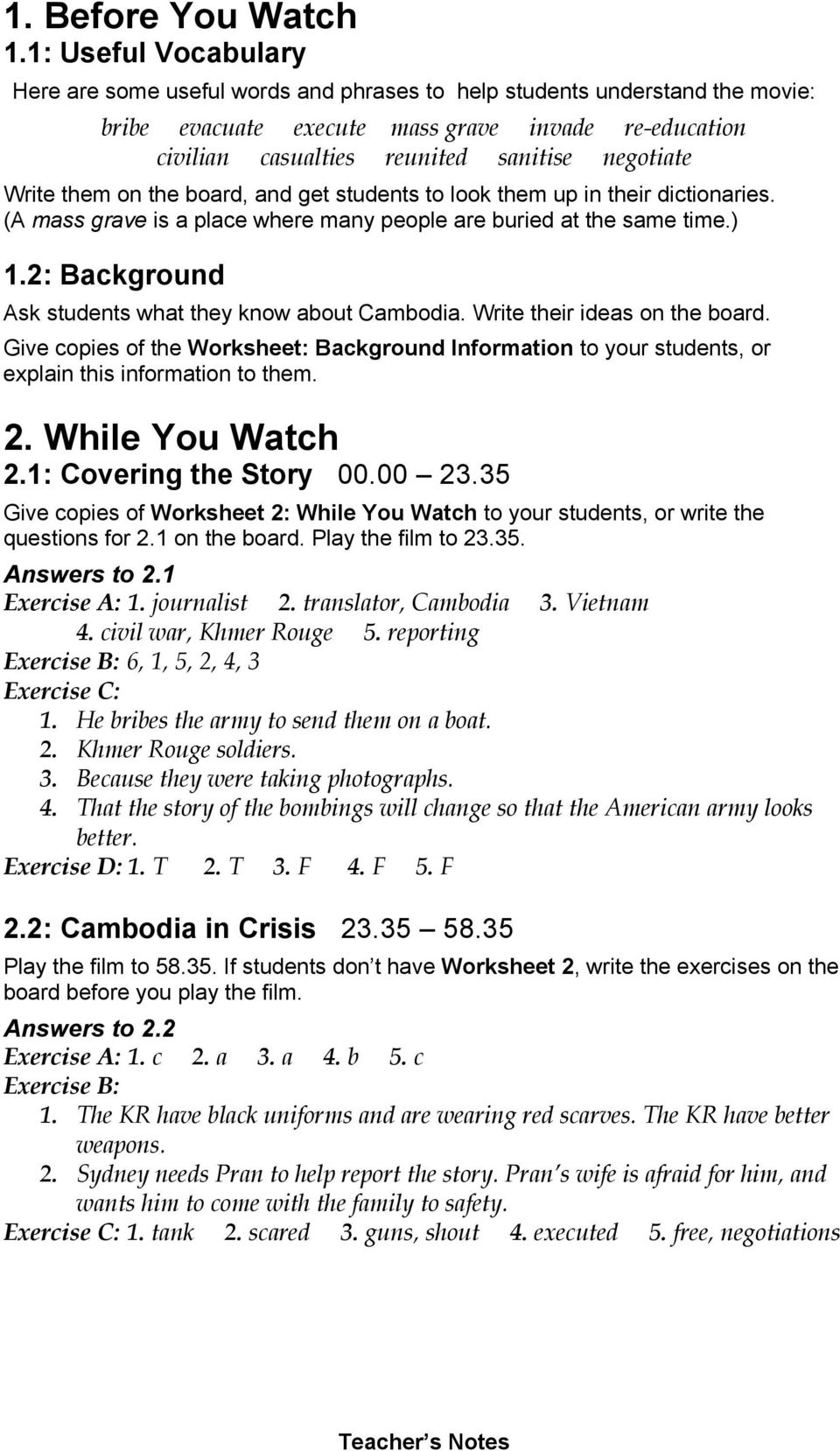 Comprehension And Discussion Activities For The Movie The Killing