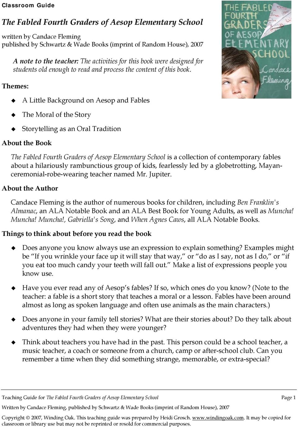 A List Of Fables And Their Morals the fabled fourth graders of aesop elementary school - pdf