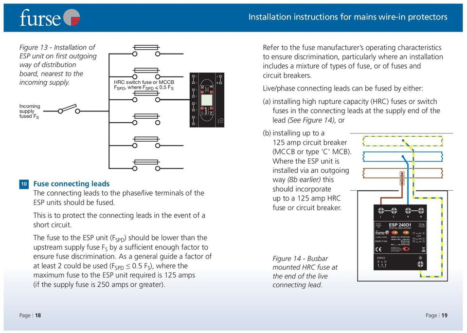 Installation Instructions For Mains Wire In Protectors Esp D1 D1r