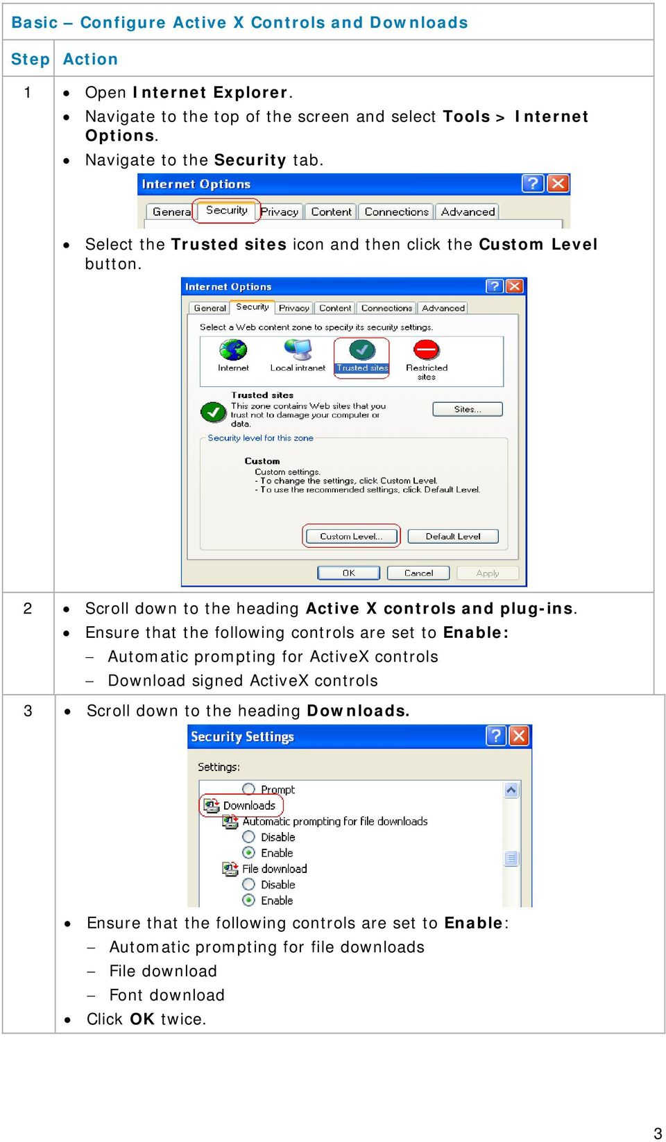 2 Scroll down to the heading Active X controls and plug-ins.