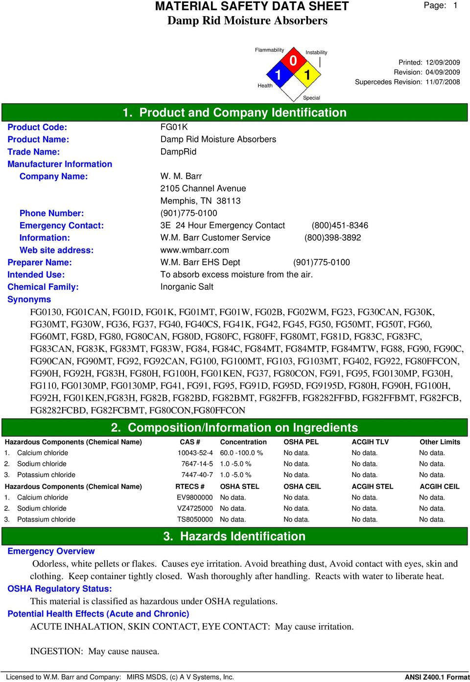 Material Safety Data Sheet Damp Rid Moisture Absorbers 1 Product