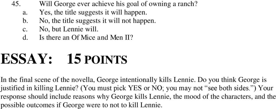 should george have killed lennie essay