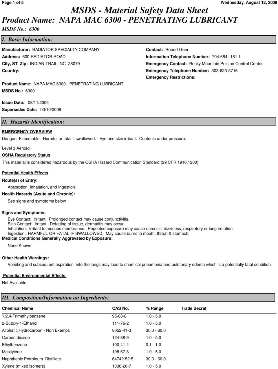 Page 1 of 5 MSDS - Material Safety Data Sheet Product Name