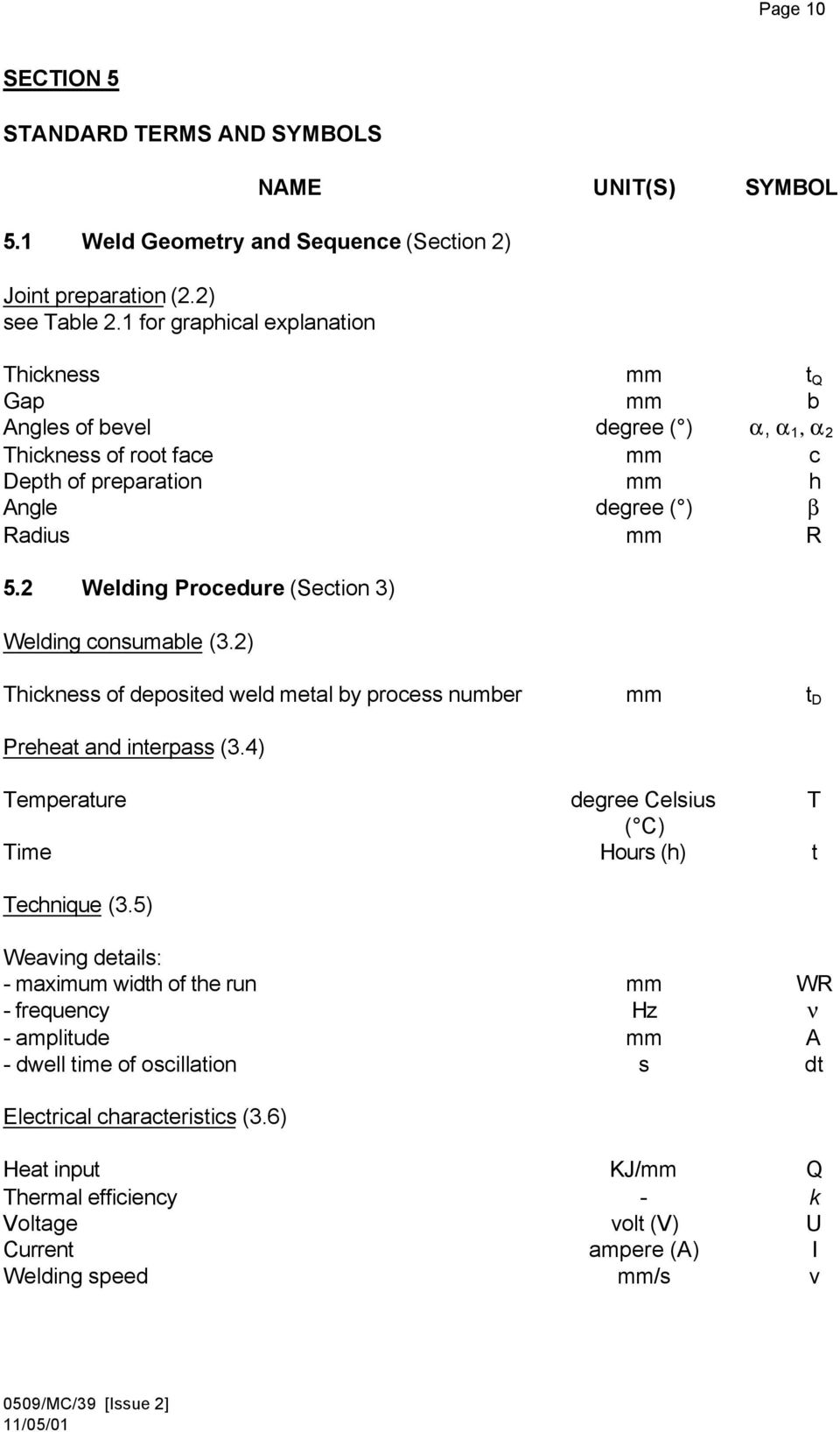 TERMS AND TERMINOLOGY FOR WELDING PROCESSES AND WELD