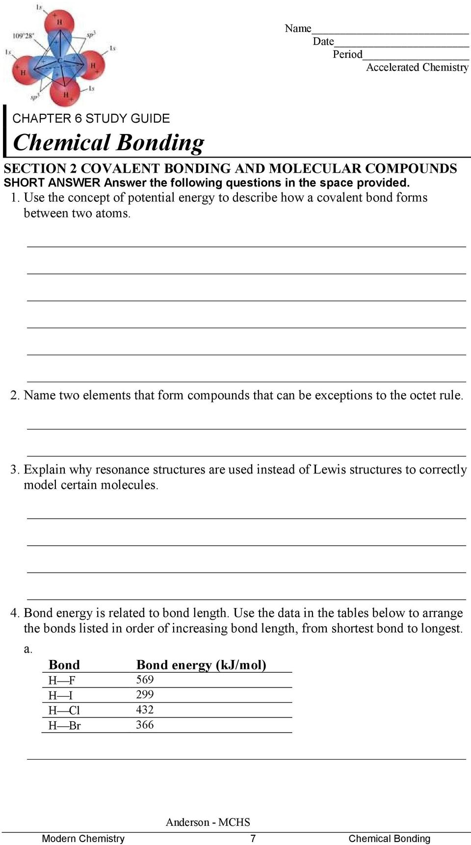 Chapter 6 Section 2 Chemical Bonding Worksheet Answers