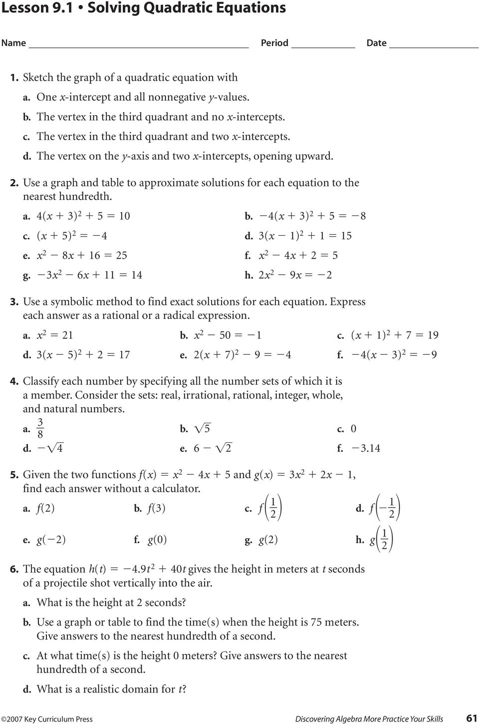 Lesson 9 1 Solving Quadratic Equations - PDF