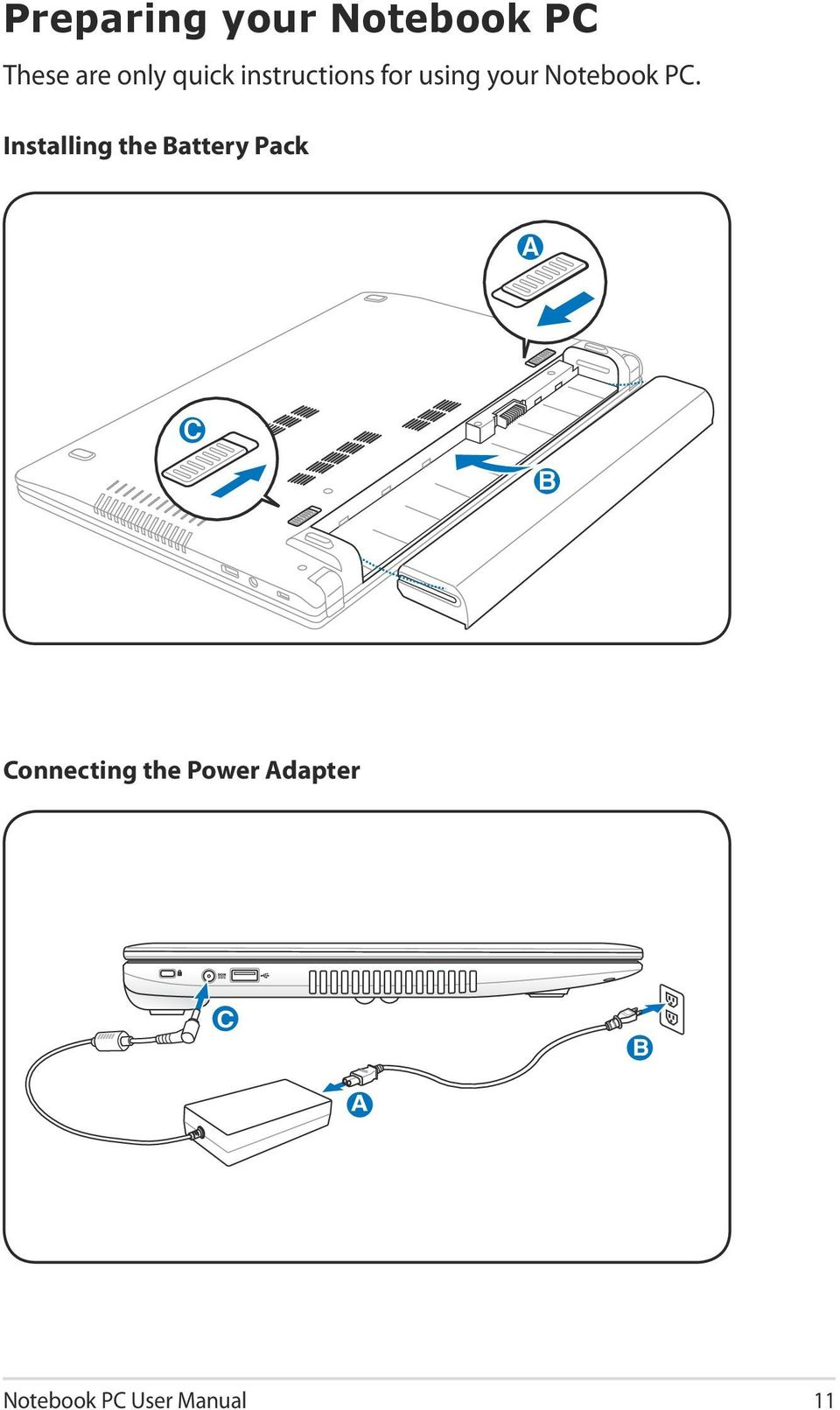 E7169 Notebook Pc User Manual Pdf Hp Pavilion Tx1000 Tablet Block Diagram Installing The Battery Pack B A C Connecting