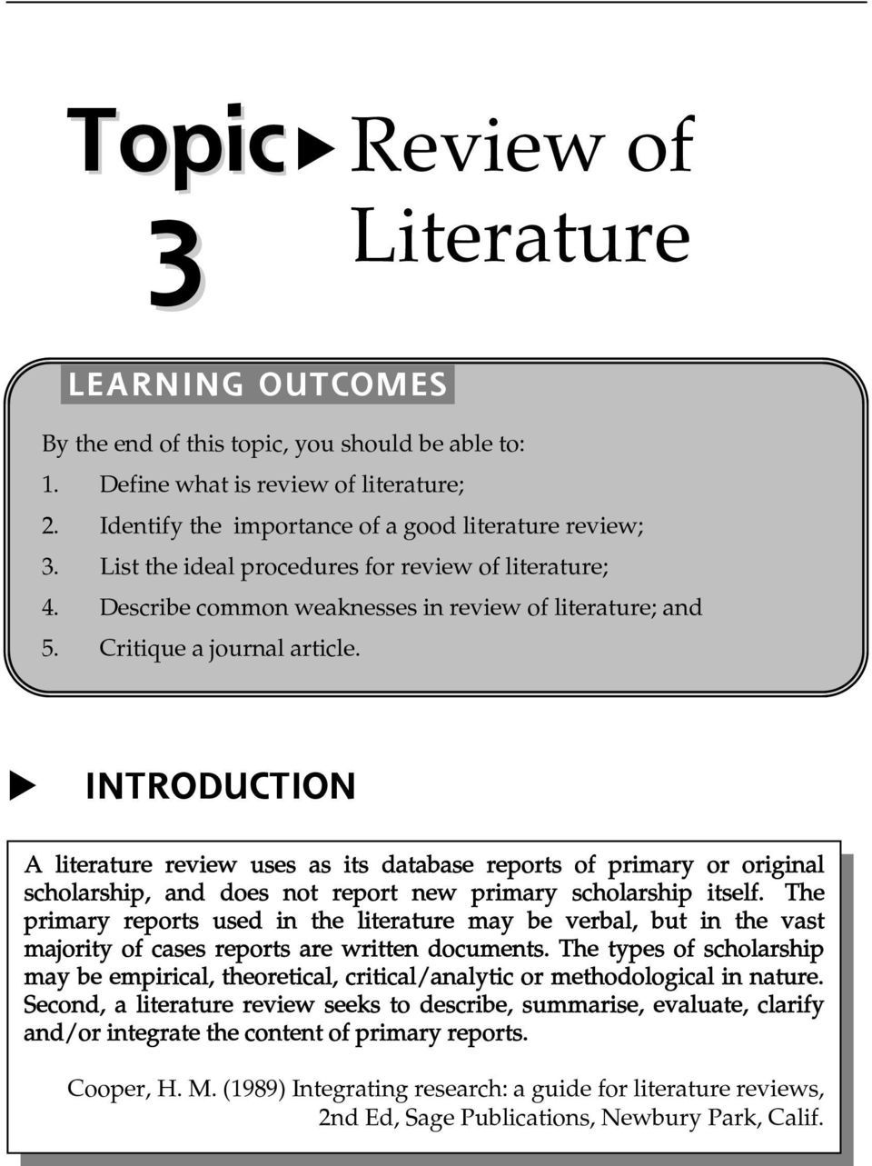 literature review report