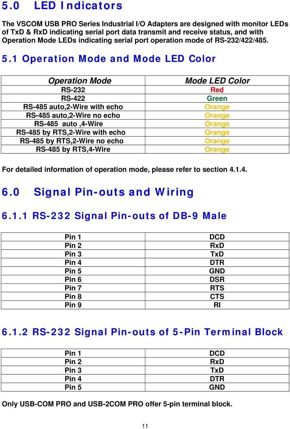 Vscom Usb Pro Series Industrial I O Adapters Pdf Ethernet Rs 485 2wire Pinout Diagram 1 Operation Mode And Led Color 232 422