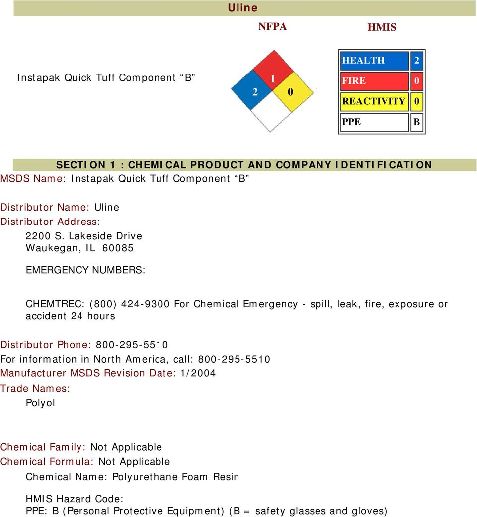Uline NFPA  SECTION 1 : CHEMICAL PRODUCT AND COMPANY