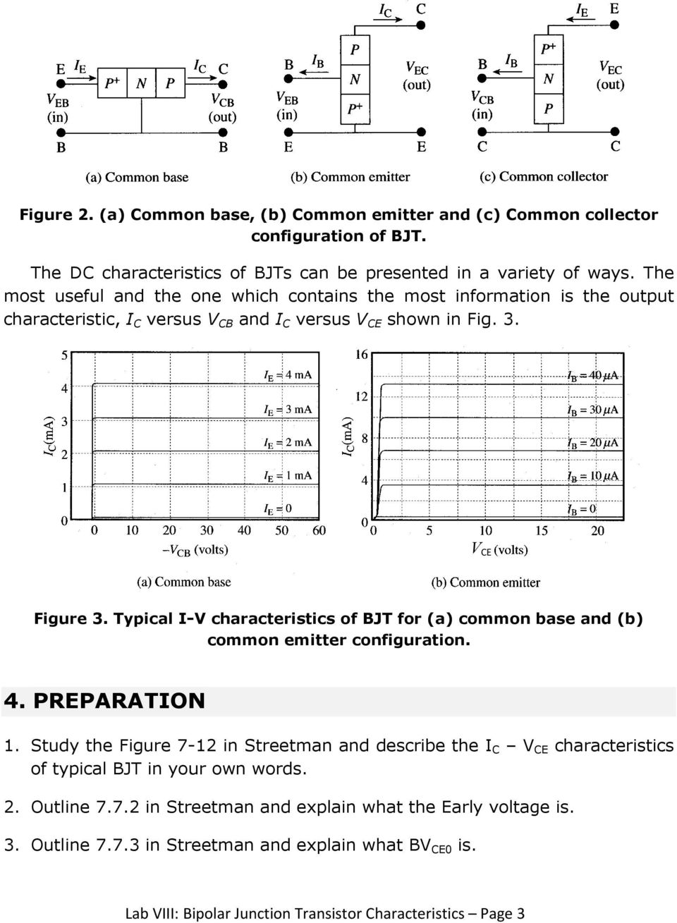 Lab Viii Bipolar Junction Transistor Characteristics Pdf Common Base Amplifier Typical I V Of Bjt For A And B
