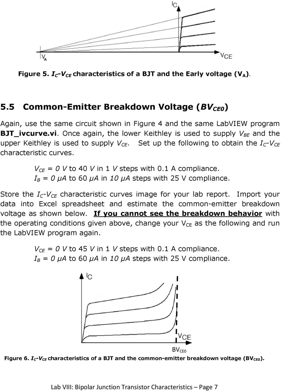 Lab Viii Bipolar Junction Transistor Characteristics Pdf Figure 5 Amplifier Schematic V Ce 0 To 40 In 1 Steps With 01 A Compliance