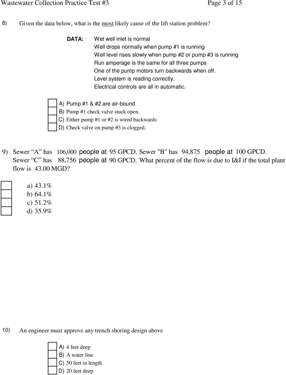 Wastewater Collection Practice Test #3 Page 1 of 15 - PDF