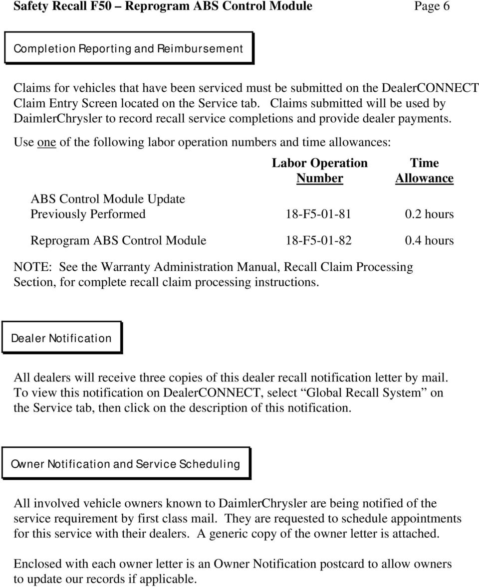 Dealer Service Instructions for: Safety Recall F50 Reprogram