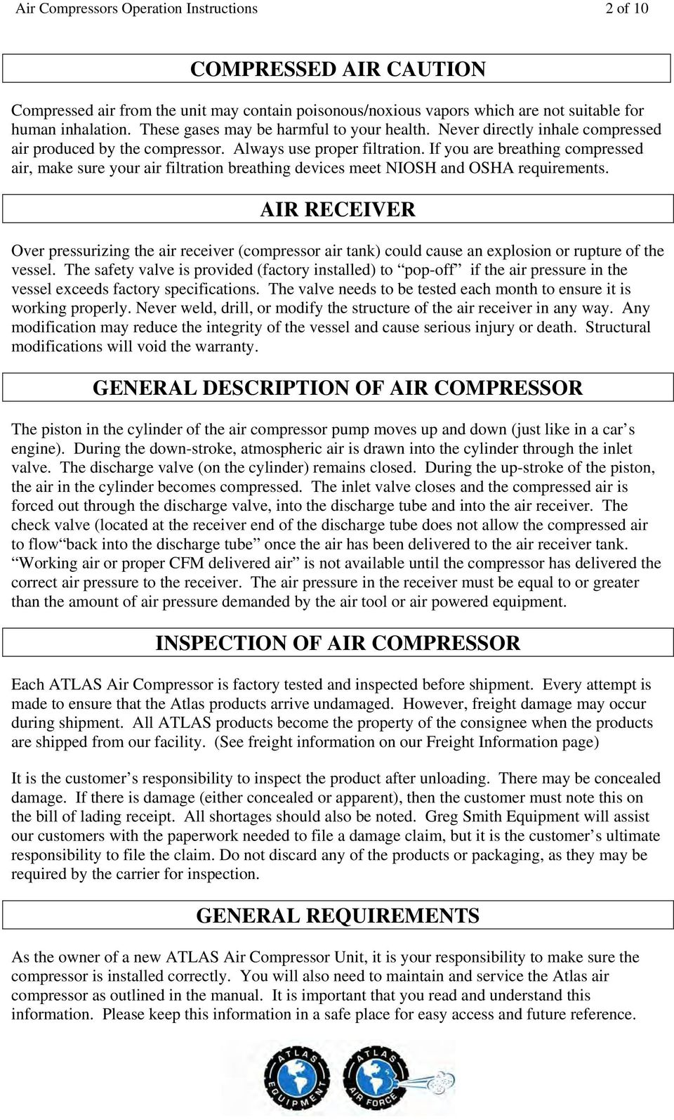 If you are breathing compressed air, make sure your air filtration  breathing devices meet NIOSH. 4 Air Compressors Operation Instructions ...