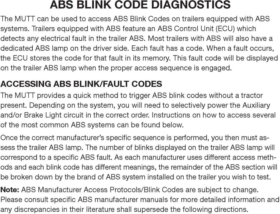 ABS Flash Code Blink Code Instructions PDF