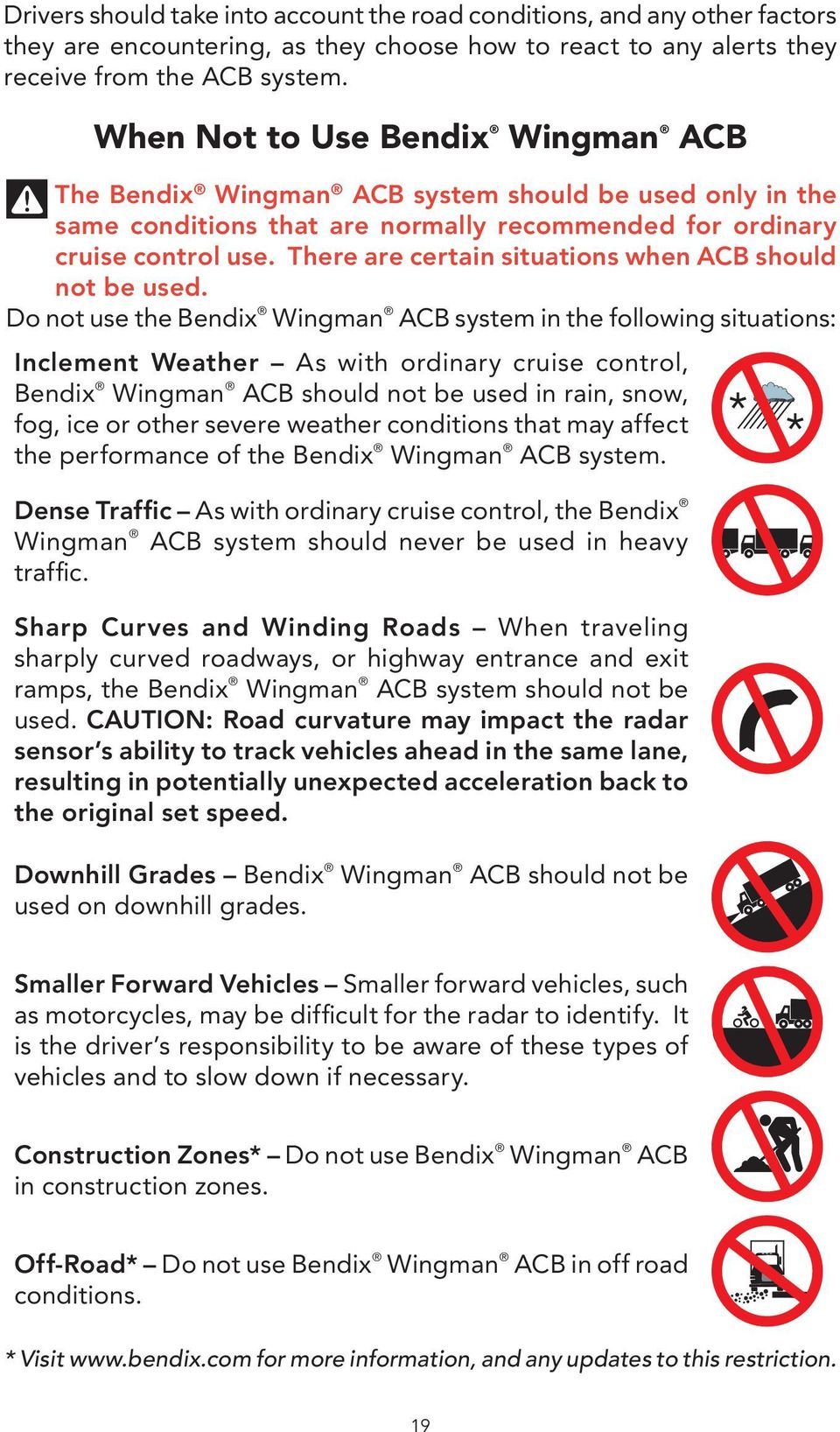 Cruise Control Should Not Be Used >> Bendix Wingman Acb Active Cruise With Braking Operator S Manual Pdf