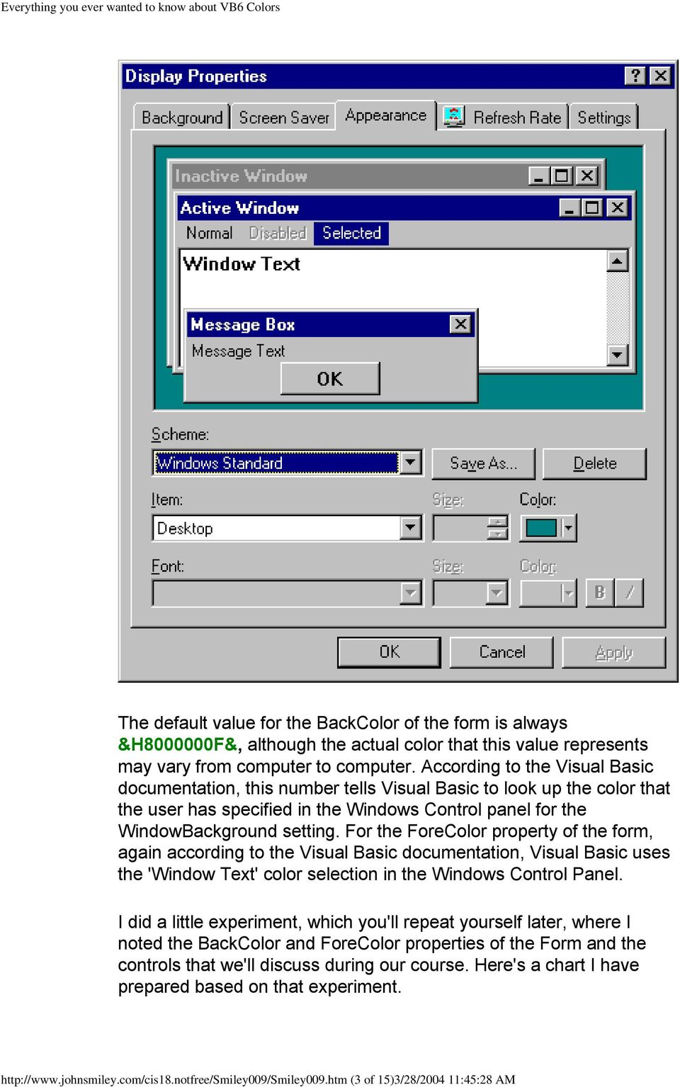 Everything you wanted to know about Visual Basic 6 Colors - PDF