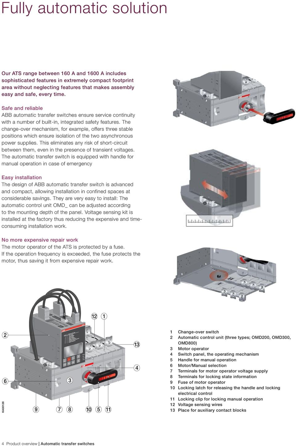 Low Voltage Products Switches Automatic Transfer Pdf Electrical Should A Generator Switch Have Continuity The Change Over Mechanism For Eample Offers Three Stable Positions Which Ensure Isolation