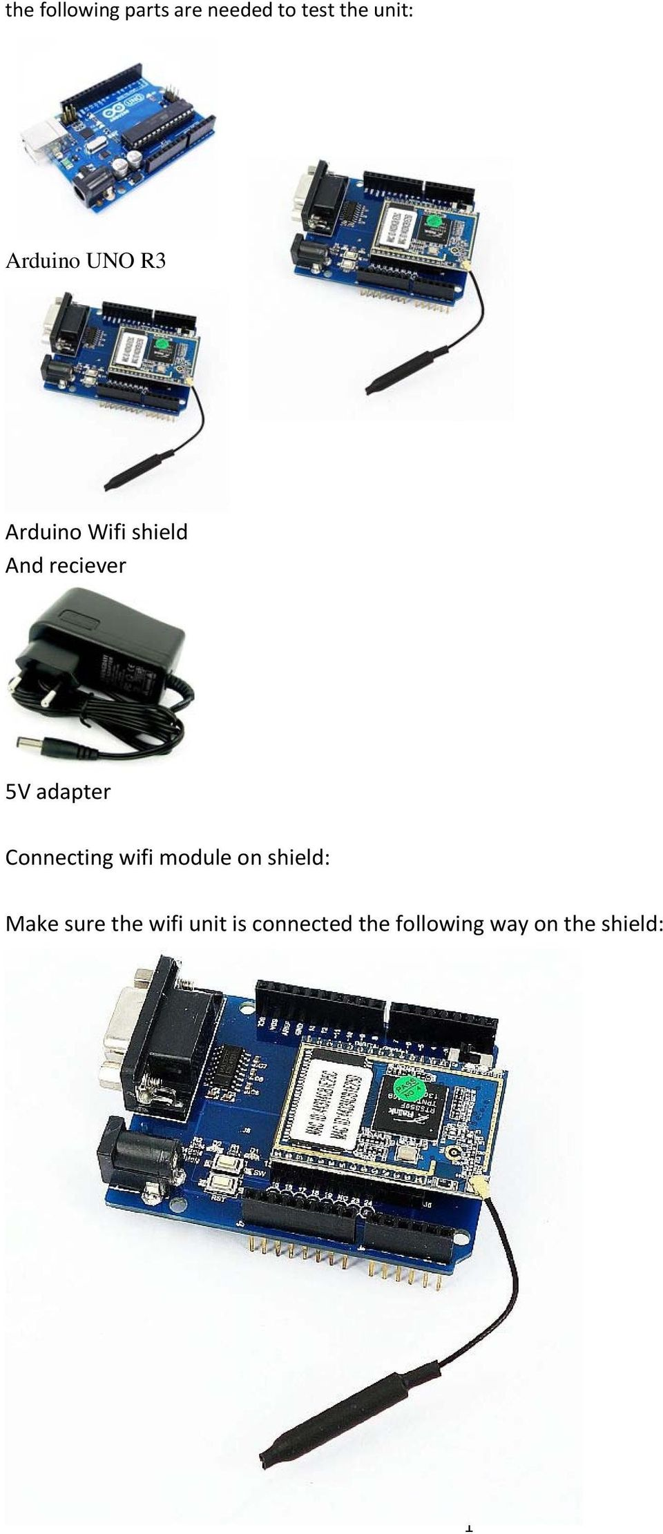 adapter Connecting wifi module on shield: Make sure