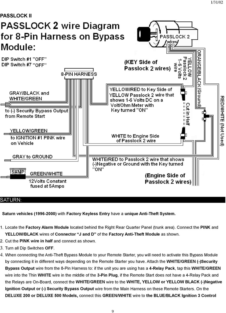 General Remote Starter Diagram Model If114 Vats Passlock Transponder Universal Alarm Bypass Module When Connecting The Anti Theft To Your You Will Need