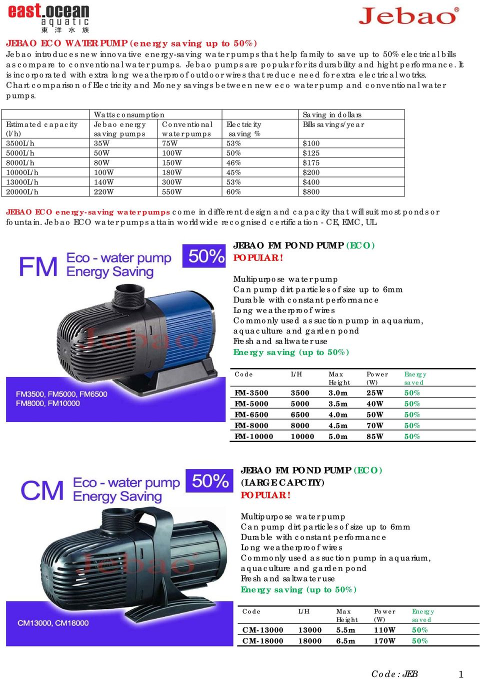 Jebao Fm Pond Pump Eco Popular Large Wiring Chart Comparison Of Electricity And Money Savings Between New Water Conventional Pumps