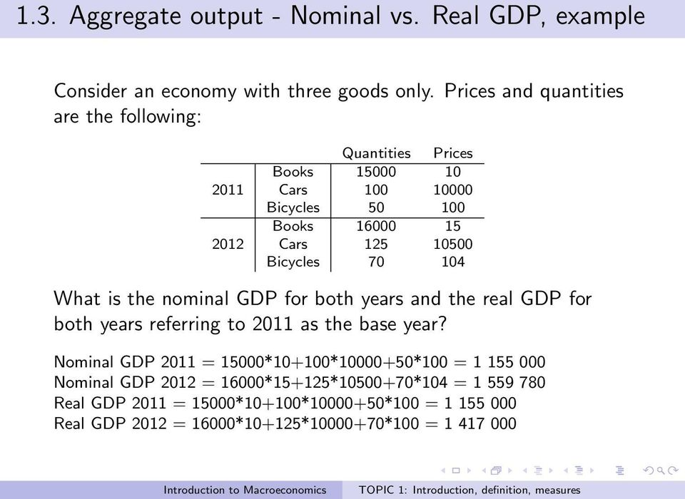 Bicycles 70 104 What is the nominal GDP for both years and the real GDP for both years referring to 2011 as the base year?