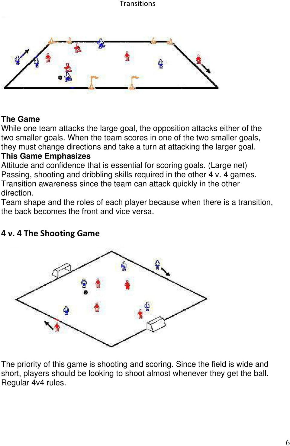 This Game Emphasizes Attitude and confidence that is essential for scoring goals. (Large net) Passing, shooting and dribbling skills required in the other 4 v. 4 games.