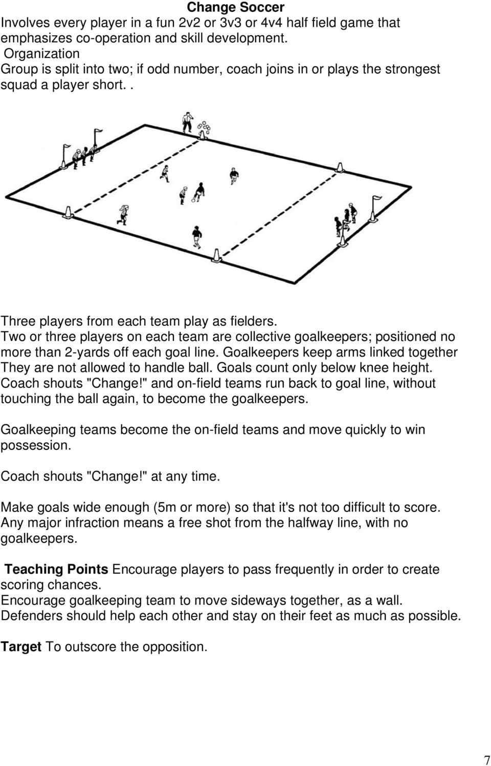 Two or three players on each team are collective goalkeepers; positioned no more than 2-yards off each goal line. Goalkeepers keep arms linked together They are not allowed to handle ball.