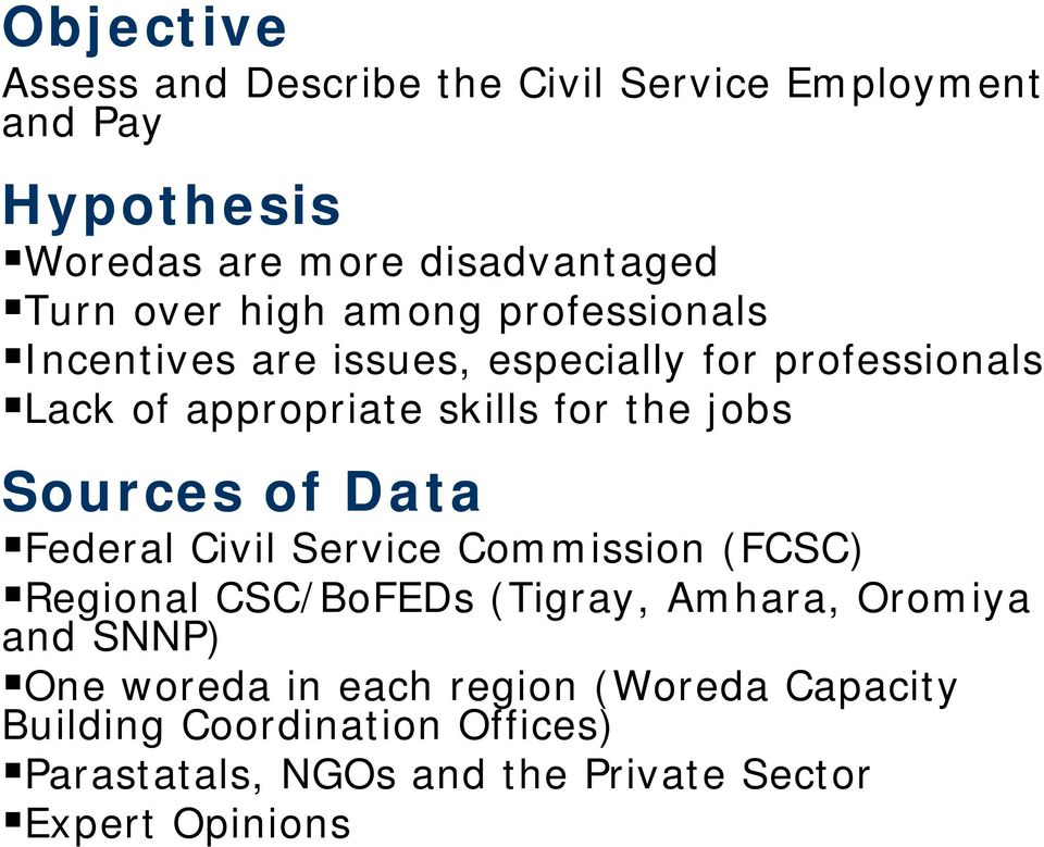 Civil Service Employment and Pay in Ethiopia: Challenges for Service