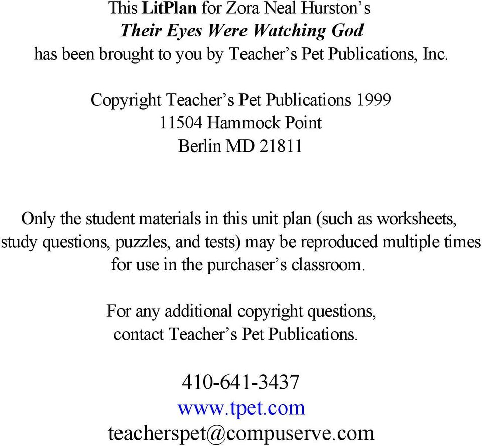 ... contact Teacher s Pet Publications. (such as worksheets, study questions,  puzzles, and tests) may be reproduced