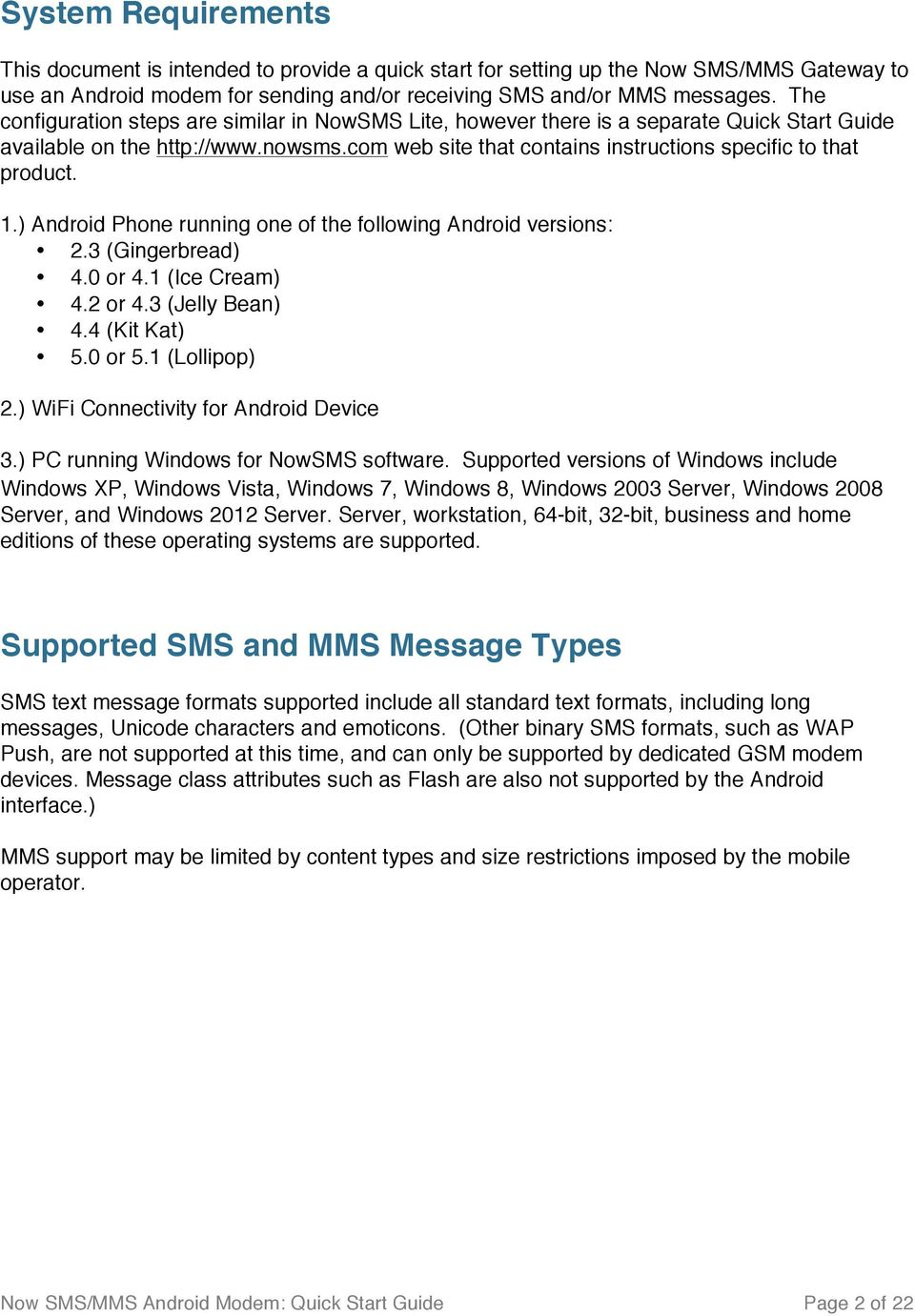 Now SMS/MMS Android Modem Quick Start Guide - PDF
