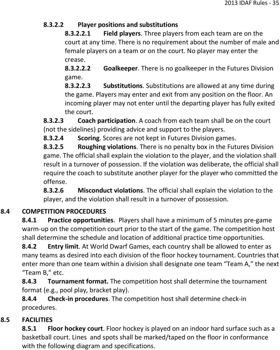There is no goalkeeper in the Futures Division game. 8.3.2.2.3 Substitutions. Substitutions are allowed at any time during the game. Players may enter and exit from any position on the floor.