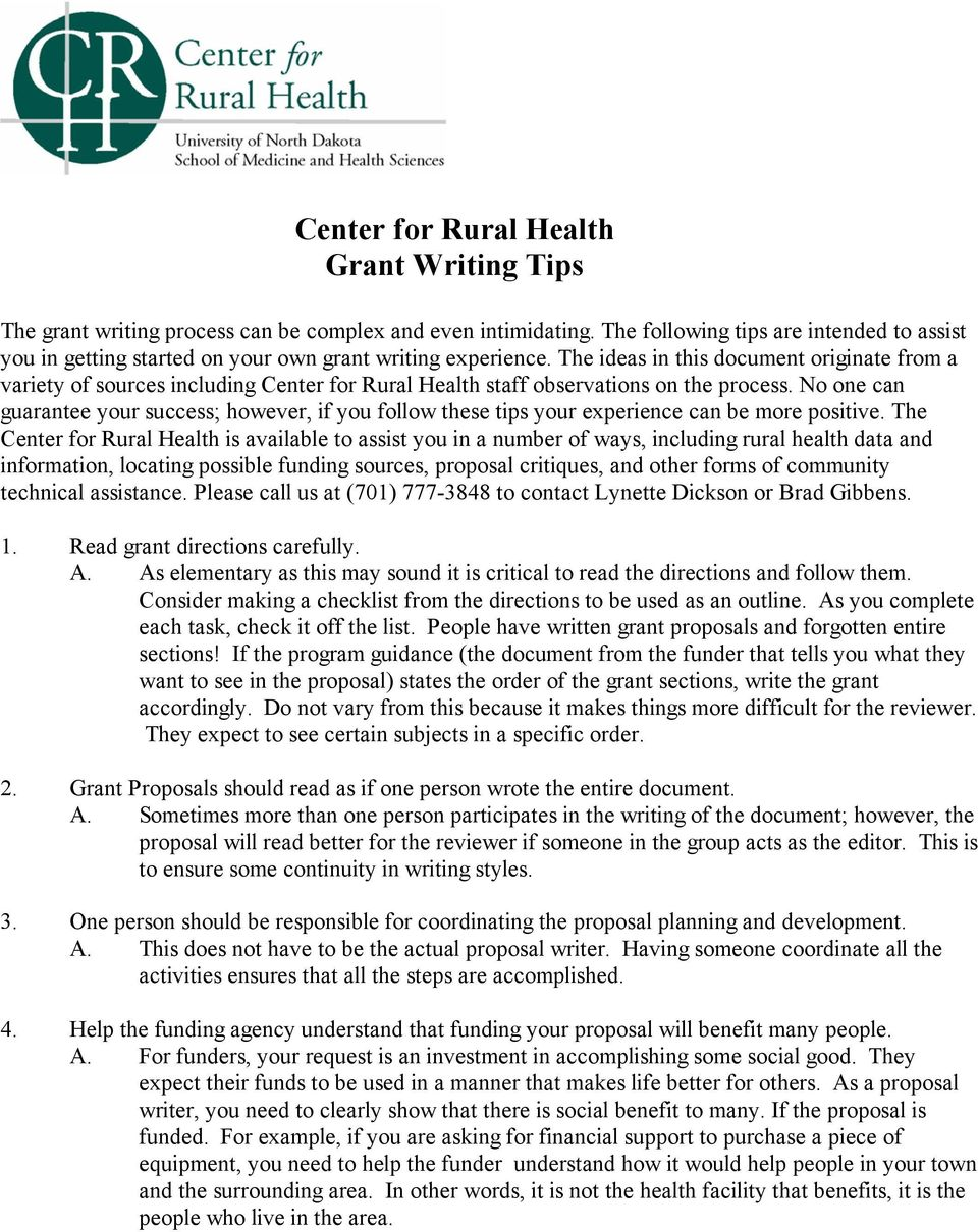Center for Rural Health Grant Writing Tips - PDF